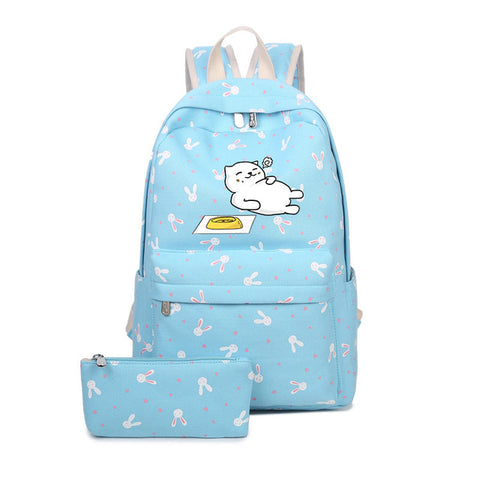 2018 new Anime Japan Neko Atsume Cat Backyard Cartoon Canvas Travel Shoulder Bag Schoolbag Backpack Rucksacks for Teenagers suuman Store 1