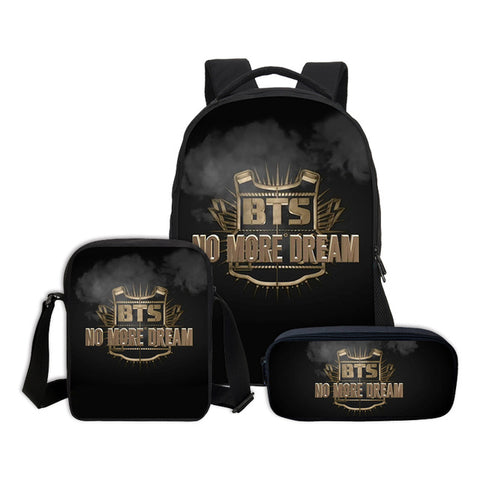 3 PCS/SET Portfolio For School Girls Boys BTS Letter 3D Printing Backpacks Teenage Bookbag School Bag Fashion Mochila Escolar VN Bagpok Store 1