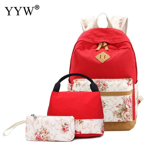 70e804e04329 School Backpack trendy 3 Pcs/Set Female Red Backpack Set Canvas Bags for  Women 2018 Casual Top-handle Bag & Clutches for Children AT_54_4