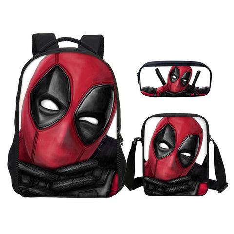 1d31000e66b5 ... 3D Design Marvel Deadpool 2 PrintSchool Laptop Backpack For Boys Girls  Fashion 3Pcs Set Bookbag ...
