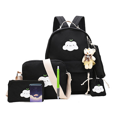 755a1b4ee ... School Bags Cute Bear 2018 AT_54_4. 4 Set Cat Canvas Book Backpack  Female Fashion Composite Bag Preppy Style Backpacks For Teenage Girls