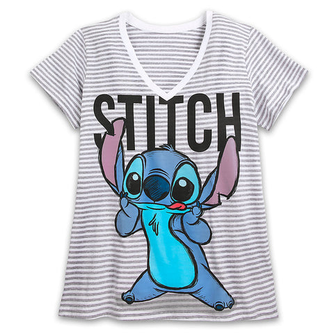 719356f0 Licensed cool Lilo & Stitch Striped V-neck Tee SHIRT For WOMEN 3X ...