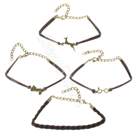 Harry Potter The DEATHLY HALLOWS Braid Cord Metal Bracelet 4 Pack Jewelry NEW Bioworld & Warner Bros. 1