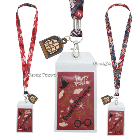 Harry Potter Chibi Art ID Card Holder Neckstrap Lanyard W/ Hedwig Owl Cage Charm Warner Bros. 1