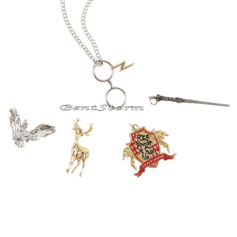 Harry Potter Wand Deer Owl Interchangeable 5 Multi Charm Pendant Necklace Set  warner bros/hot topic 1
