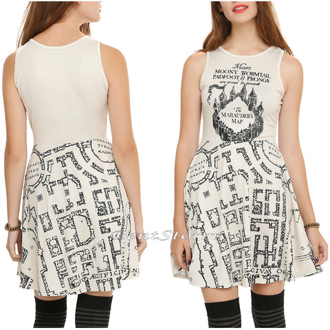 Harry Potter Deathly Hallows Marauder's Map Fit & Flare Skater Dress JRS. XL WARNER BROS. & HOT TOPIC