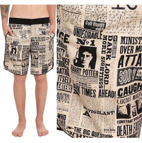 Harry Potter Daily Prophet Newspaper Print Mens Board Shorts Swim Trunks M-XL warner bros & hot topic