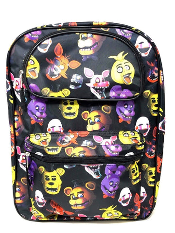 "Allover Print Five Nights at Freddy's Large Backpack 16"" Boys School Book Bag"