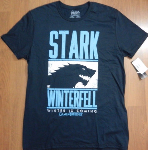 HBO Game Of Thrones Men's Stark Winterfell T-Shirt Navy Tee New  HBO Game of Thrones