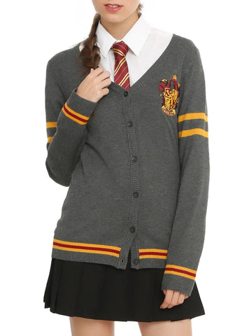 Harry Potter Gryffindor Cardigan Sweater House Crest button down JRS M & L NWT Warner Bros,