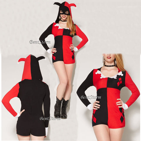 Licensed Cool Dc Harley Quinn Adult Costume Romper Mask Jester Hat Hood Cosplay Outfit