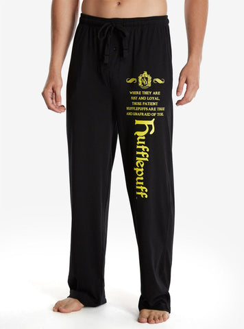Harry Potter Hufflepuff Sleep Lounge Pants Pajamas w/ Pockets MEN S Licensed NWT warner bros./BoxLunch