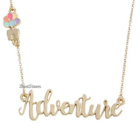 87b96a09c Disney Pixar Up Adventure Cursive Name Plate Necklace House Balloons  Licensed disney & Hot Topic 1
