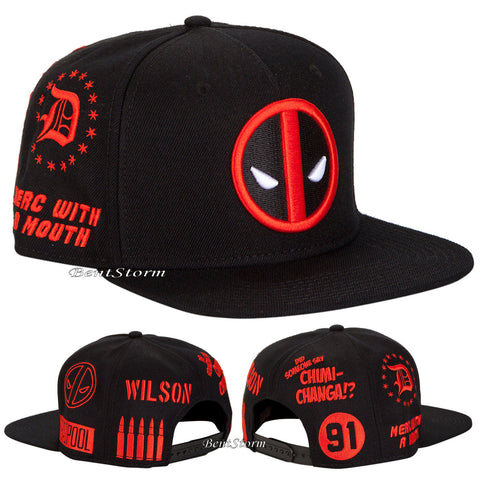 MARVEL DEADPOOL Allover Embroidered Logo Symbol SNAPBACK BALL HAT CAP FLAT BILL  marvel/Hot Topic exclusive 1