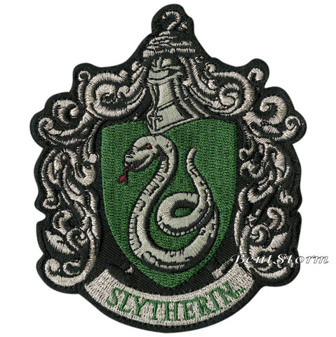 "Harry Potter Slytherin Snake Crest Embroidered IRON ON Patch Badge 3 1/4"" x 4""  Unbranded 1"