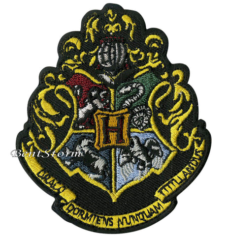 "Harry Potter Hogwarts School Crest Embroidered IRON ON Patch Badge 3 1/4""x2 3/4"" Unbranded 1"