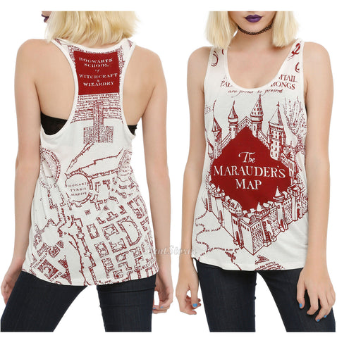 Harry Potter and the Deathly Hallows MARAUDERS MAP White Tank Top Shirt JRS. S L Warner Bros. HOT TOPIC