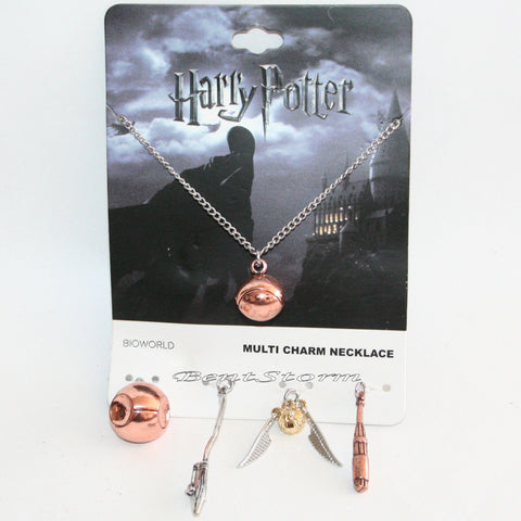 Harry Potter Quidditch Interchangeable 5 Multi Charm Pendant Necklace Set NEW warner bros/hot topic 1