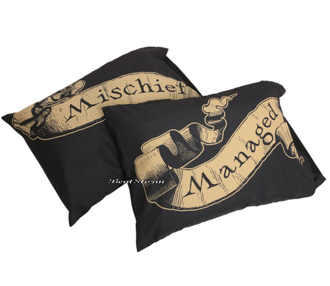 Harry Potter Deathly Hallow Mischief Managed 2 Pack Set Pillow Case Pillowcase  warner bros. 1