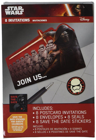 Amscan Star Wars Force Awakens Episode Vll Postcard Invitations, Multicolor 8pcs Disney 1