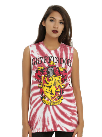 WB Harry Potter GRYFFINDOR House Crest Tie Dye Muscle Tank Top Shirt S-L NEW Warner Bros. HOT TOPIC