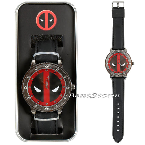 Marvel Deadpool Bolt Face Wrist Watch Rubber Band Strap In Collectors Gift Tin marvel 1