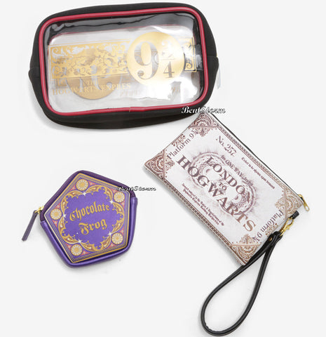 Harry Potter 3 Piece Hogwarts Express 9 3/4 Cosmetic Makeup Toiletry Bag Set NWT Warner Bros. 1