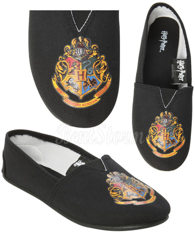 NEW HARRY POTTER HOGWARTS CREST CANVAS SLIP ON FLAT SHOES SLIPPERS LADIES Medium BIOWORLD & WARNER BROS.