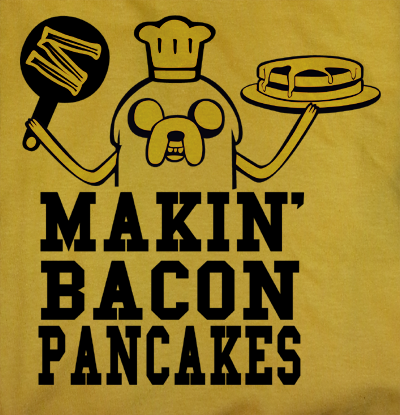 Trendy Pop Culture Adventure Time Jake Making Makin Bacon and Pancakes tee t-shirt tshirt Toddler Youth Adult Unisex Ladies Female All Sizes - Animetee - 2