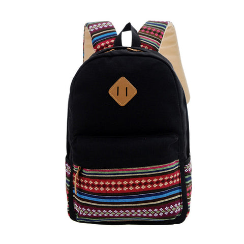 68a182dfe1 Aelicy Canvas Printing Backpack Women School Backpacks Bag for Teenage  Girls Vintage Canvas Backpack simple style