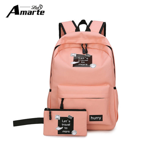 67185bb6126c ... Amarte Canvas Backpacks New Fashion 2 Pcs School Bags for Teenager  Girls Big Capacity School Backpack ...