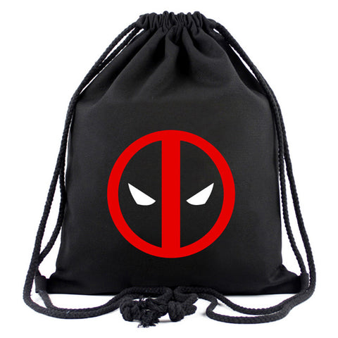Animation Hero Deadpool Drawstring Bags for Men Women Canvas Backpack Organizer Pouch Fashion Casual Drawstring Backpacks Gifts Happy Goods Store 1