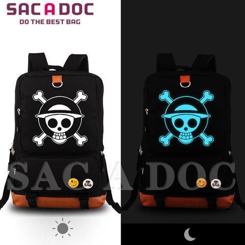 baab6e7c7d5 Anime Anime One piece Luffy Pirate Flag Printing School Bags For Teenagers  School Backpack Men Women