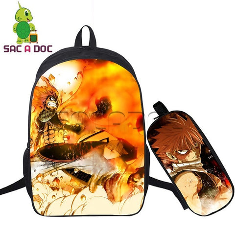 Anime Fairy Tail Backpack 2 Pcs/Set Women Backpacks Natsu Erza School Bags with Pencil Bag for Teenage Girls Boys Shoulder Bags Shop3126025 Store 1