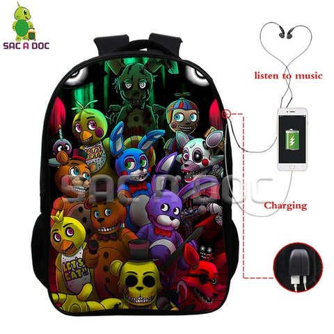Anime Five Nights At Freddy's Multifunction Backpack USB Charging Headphone Jack Laptop Backpack Boys Girls Children Schoolbags Shop3126025 Store 1