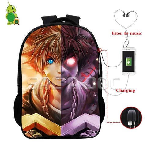 d1df40b4b8f Anime Kingdom Hearts Sora Split Backpacks Multifunction USB Charge  Headphone Jack Laptop Bags for Teenagers School