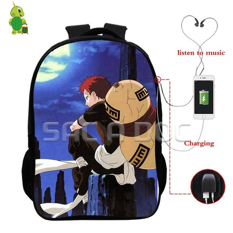 Anime Naruto Backpacks Sasuke Akatsuki Multifunction USB Charge Headphone Jack School Bags for Teenagers Daily Laptop Backpack Anime Bag World Store 1