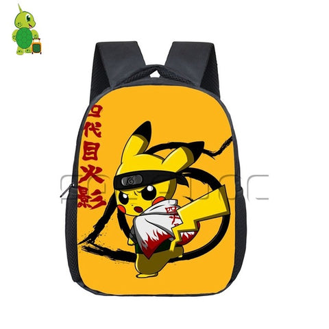 Anime Naruto Dragon Ball Pokemon Crossovers Backpack Children School Bags Kids Chibi Piakchu Naruto/goku Kindergarten Backpack Anime Bag World Store 1