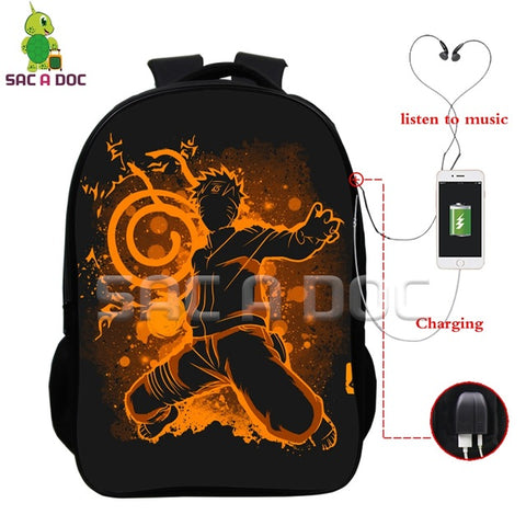 Anime Naruto Fluorescence Backpack Naruto Print Multifunction USB Charging Headphone Jack School Bags Daily Laptop Travel Bags Shop3126025 Store 1