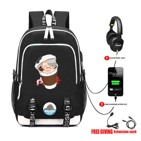 8cd9dbc797ed Anime YURI On ICE backpack USB Charge Headphone Jack Men Women Laptop Bags  teenagers School Bags