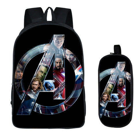 3c13316ecf51 Avengers 2PC Set with Pencil Case Luxury Student Backpacks DIY Printing  Cool Children School Bags For