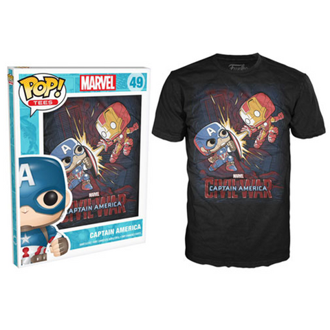 Officially Licensed FUNKO POP! TEES: MARVEL - CIVIL WAR FIGHT (LARGE) - Animetee