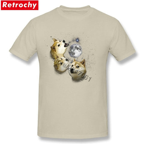 Awesome Novelty Shiba Inu 3 doge moon shirt Japanese Anime Dog T Shirts Group Short Sleeve Father's Day XXXL Tee Shirts Retrochy Store 1
