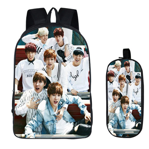 BTS 2PC Set with Pencil Case Bangtan Boys Student Backpacks Female DIY Printing Children SchoolBags For Boys Kids Men Book Bag runningtiger Schoolbag Store 1