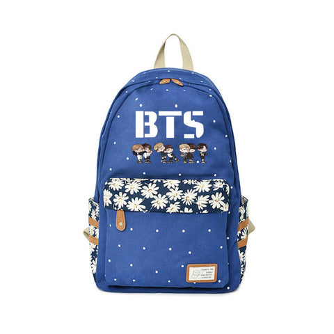 BTS Anime Backpack Teens Flower wave point Rucksacks boy&girl Idol fans Exclusive travel School bags Kpop 2018 High quality Global bags Store 1