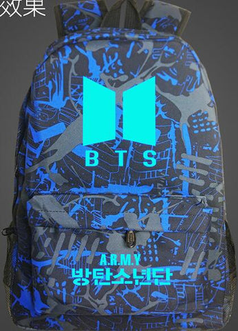 BTS Army Big Bang Korean School Bag noctilucous Luminous backpack student bag Notebook backpack Daily backpack Glow in the Dark Met You Store 1