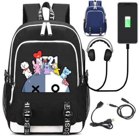 BTS BT21 TATA SHOOKY XO Backpack Bag Canvas Rucksack w/ USB Charging Port and Lock / Headphone Anime Book Bag Laptop Met You Store 1