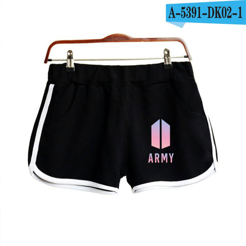 BTS Leisure Airproof Cotton Contrast Elastic Waist Shorts Quick Drying Drawstring women Shorts MRluo123 Store 1
