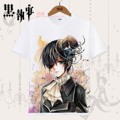 Black Butler T-shirt Ciel Phantomhive Sebastian Michaelis Cosplay Printed Tees Tops Japanese Anime Costume T Shirt For Men Women Costumes/Accessories Store 1