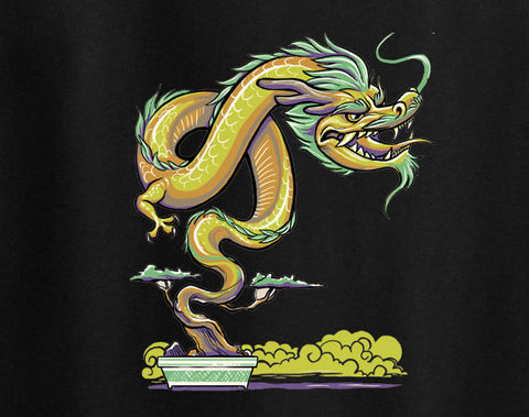 Bonzai Bonsai Japanese Dragon Artistic Artsy Tee T-Shirt - Animetee - 1